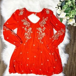 • Free People Embroidered Red Dress •